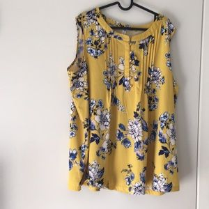 Yellow and blue floral top